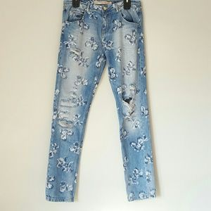 Zara factory distressed floral wash boyfriend jean